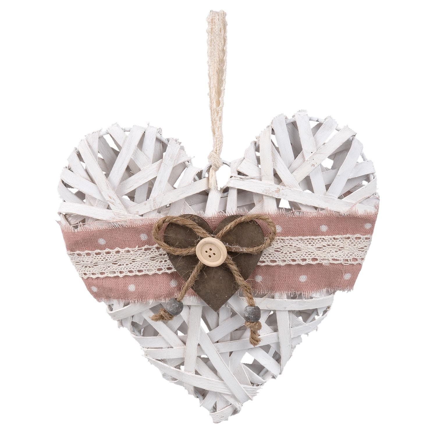 Bílé závěsné dřevěné srdce - 20*4*20 cm