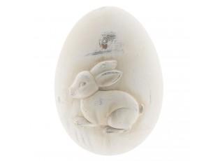 Dekorativní keramické vejce s motivem zajíce a patinou - 14*14*18 cm