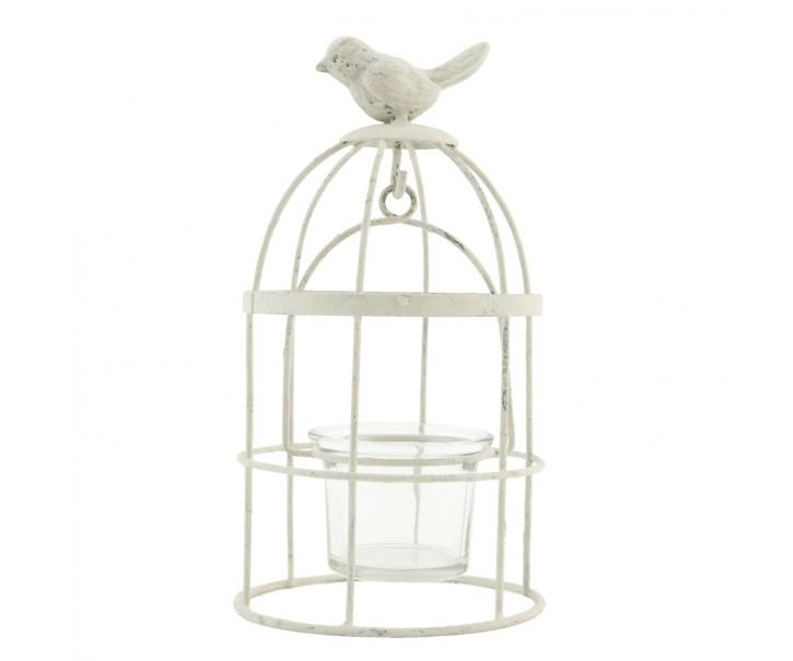 Bílý kovový svícen ptačí klec na čajovou svíčku.