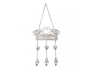 Závěsná kovová cedulka Welcome s andílky - 17*40 cm
