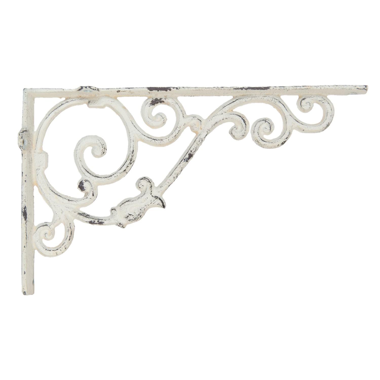 Clayre & Eef Kovová policová konzole s patinou a ornamenty - 32*5*20 cm