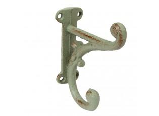 Šedý vintage nástěnný háček - 3*9*11 cm