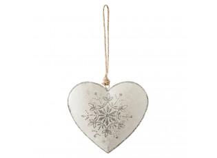 Krémové závěsné plechové srdce - 10*1*11 cm