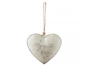 Závěsné plechové srdce Merry Christmas - 11*2*12 cm