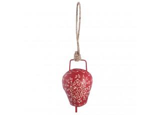Červený plechový zvonek s kytičkou  - 20*12*6 cm
