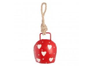 Červený kovový zvonek se srdíčky - 5*3*7 cm