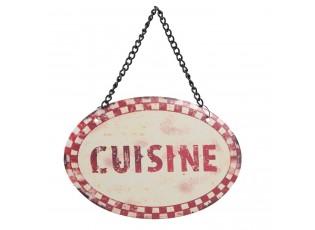 Béžová nástěnná cedulka na řetízku Cuisine - 12*8 cm