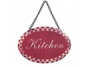 Červená závěsná cedulka Kitchen - 12*8 cm