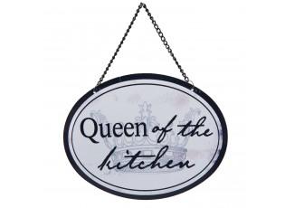 Závěsná kovová cedulka Queen-of the kitchen - 17*13 cm