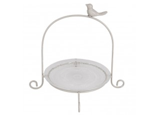 Podnos se skleněným talířem a ptáčkem - 26*24*25 cm