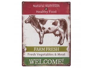 Kovová cedule s krávou Farm Fresh - 30*40 cm