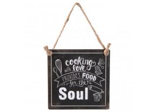 Černá kovová cedule COOKING WITH LOVE  s úmyslným odřením .