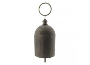 Šedý plechový zvonek -  Ø 10*31 cm