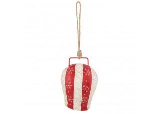 Červeno-bílý kovový zdobený kravský zvonek - 16*12*8 cm