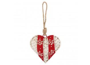 Závěsné kovové srdce se zdobením - 9*3*9 cm