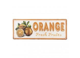 Barevná kovová cedule ORANGE FRESH FRUITS.