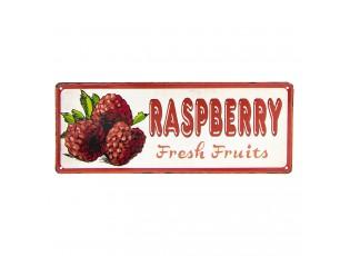 Barevná kovová cedule RASPBERRY FRESH FRUITS.