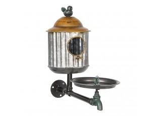 Plechová ptačí budka s pítkem pro ptáčky - 39*16*37 cm