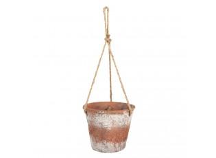 Hnědý závěsný květináč - 19*19*53 cm