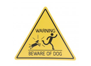 Žlutá kovová cedule WARNINIG BEWARE OF DOG .