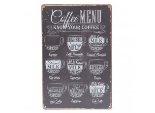 Plechová cedule Coffee Menu - 20*30 cm