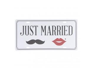 Barevná kovová cedule JUST MARRIED.