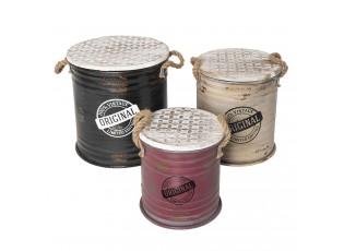 Sada 3 kovových úložných boxů ve vintage stylu Limited Edition – Ø 35*37 cm/Ø 30*33 cm/Ø 25*27 cm