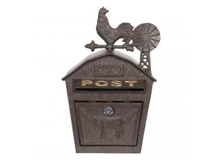 Hnědá kovová poštovní schránka s kohoutem - 24*9*38 cm