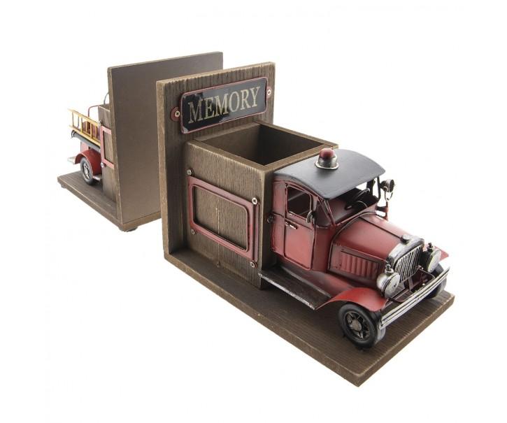 Zarážka na knihy s přihrádkou na tužky v designu nákladního vozu - 38*13*17 cm