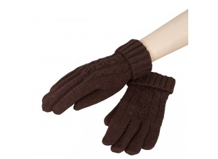 Hnědé pletené rukavice - 8*21 cm