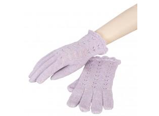 Fialkové pletené rukavice - 8*20 cm