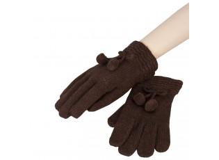Hnědé rukavice s bambulkami - 8*22 cm
