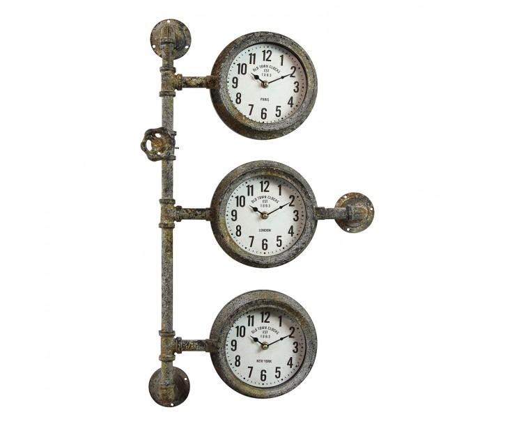 Industriální nástěnné hodiny s patinou - 69*41*16 cm