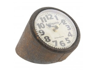 Vintage stolní hodiny s kovovým tělem - 13*13*16 cm