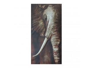 Kovový nástěnný obraz Slon - 75*150*7 cm