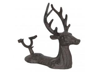 Hnědý kovový dekorativní stojan na láhev ve tvaru jelena - 26*12*24 cm