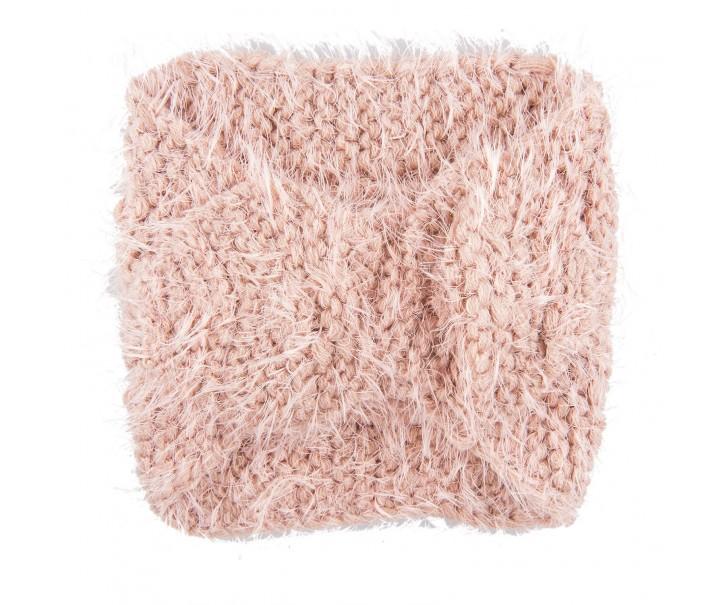 Růžová dětská pletená čelenka do vlasů