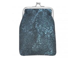 Lesklá tmavě modrá peněženka s kovovou sponou.
