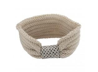 Béžová pletená čelenka do vlasů - 20*10 cm