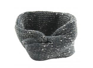 Šedá pletená čelenka do vlasů s flitry - 20*10 cm