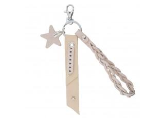 Růžový přívěsek na klíče s hvězdičkou