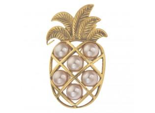 Brož zlatý ananas s kamínky