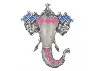 Brož slon s barevnými kamínky