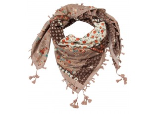 Hnědo béžový šátek s květinami - 105*105 cm