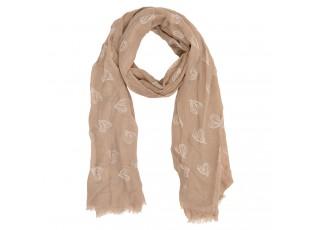 Béžový šátek se srdíčky - 90*180 cm