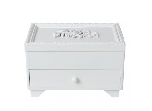Bílá dřevěná šperkovnice - 20*14*13 cm