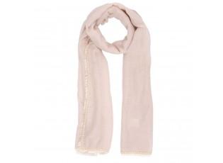 Béžový šátek s třásněmi - 70*180 cm