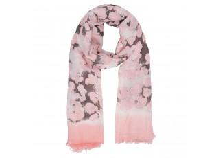 Růžový šátek s květy - 90*175 cm