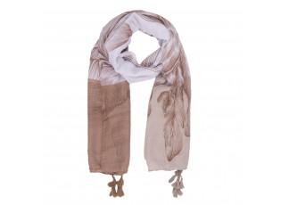 Hnědo-bílý šátek se střapci - 90*180 cm