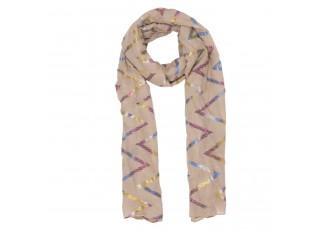 Béžový šátek s barevnými pruhy - 70*180 cm